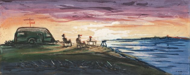 """Campingvogn i solnedgang"" product image"